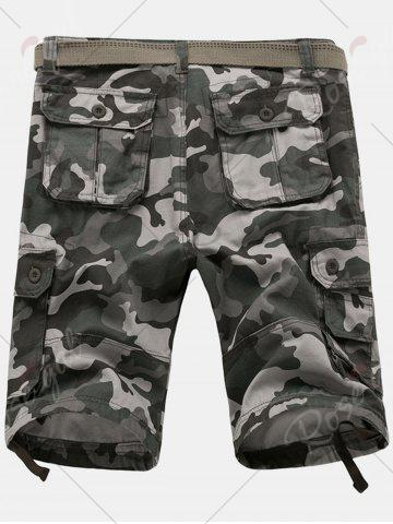 Fancy Zip Fly Flap Pockets Camouflage Cargo Shorts - 36 GRAY Mobile