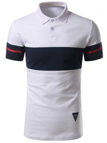 Trendy Striped Color Block Patch Polo Shirt WHITE 4XL
