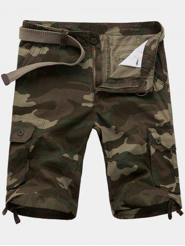Sale Zip Fly Flap Pockets Camouflage Cargo Shorts - 36 ARMY GREEN Mobile