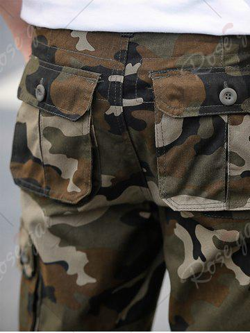 Fancy Zip Fly Flap Pockets Camouflage Cargo Shorts - 38 KHAKI Mobile