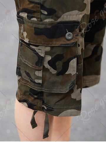 Affordable Zip Fly Flap Pockets Camouflage Cargo Shorts - 38 KHAKI Mobile