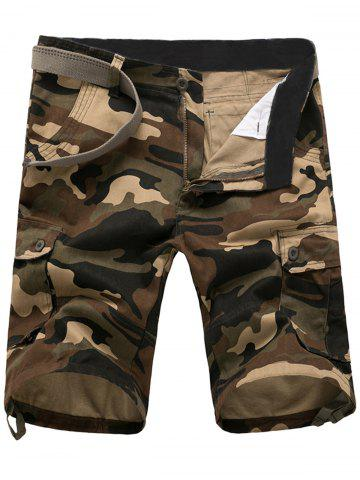 Fashion Zip Fly Flap Pockets Camouflage Cargo Shorts - 36 KHAKI Mobile