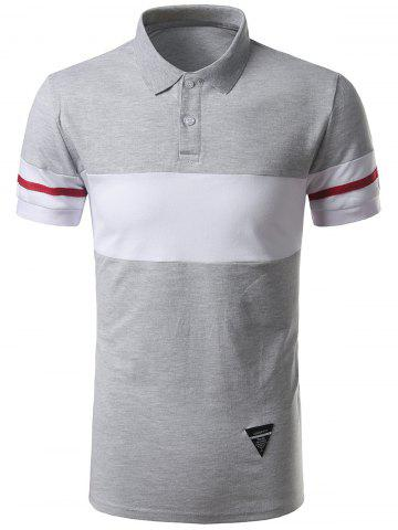 Fashion Striped Color Block Patch Polo Shirt GRAY 2XL