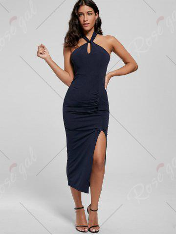 Shop Halter Ruched Slit Bodycon Dress - L DEEP BLUE Mobile