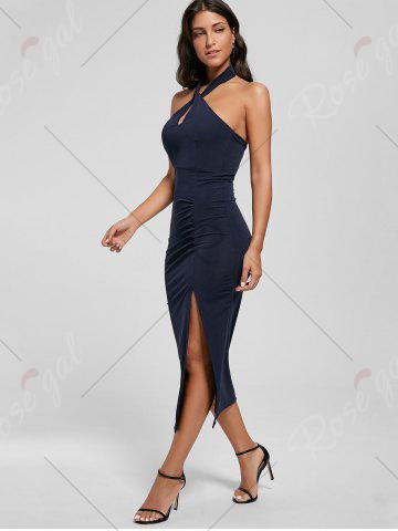 Unique Halter Ruched Slit Bodycon Dress - L DEEP BLUE Mobile