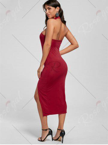 Buy Halter Ruched Slit Bodycon Dress - M RED Mobile