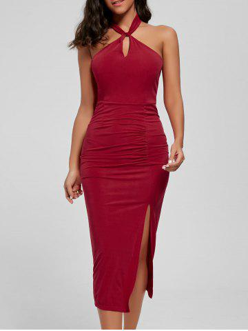 Halter Ruched Slit Bodycon Dress - Red - M