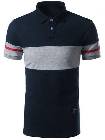 Fashion Striped Color Block Patch Polo Shirt CADETBLUE 3XL