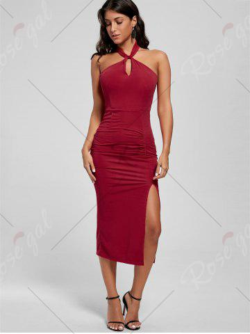 Hot Halter Ruched Slit Bodycon Dress - S RED Mobile