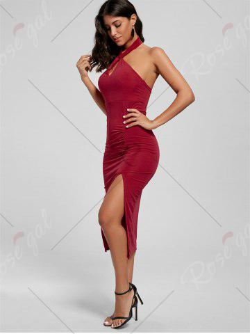 Fashion Halter Ruched Slit Bodycon Dress - S RED Mobile