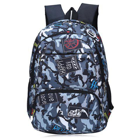 Camouflage and Patches Printed Backpack - Gray