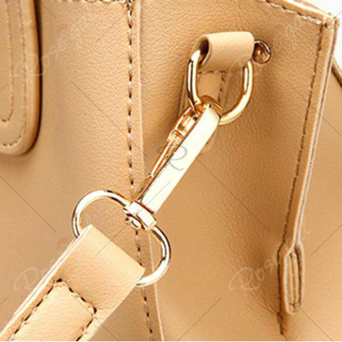 Discount Square Handle PU Leather Tote Bag - APRICOT  Mobile