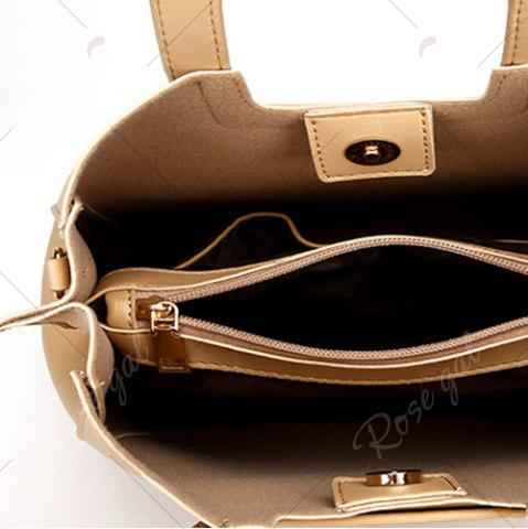 Fancy Square Handle PU Leather Tote Bag - APRICOT  Mobile