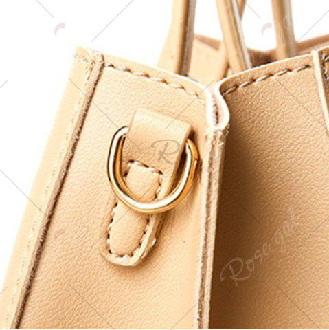 Affordable Square Handle PU Leather Tote Bag - APRICOT  Mobile