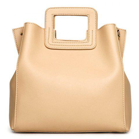Fancy Square Handle PU Leather Tote Bag APRICOT