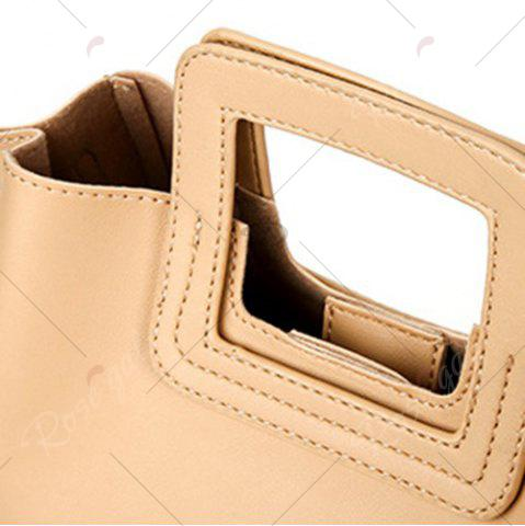 Chic Square Handle PU Leather Tote Bag - APRICOT  Mobile