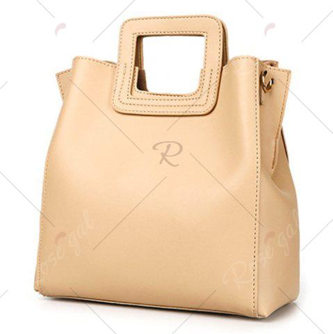 Trendy Square Handle PU Leather Tote Bag - APRICOT  Mobile