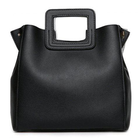 Discount Square Handle PU Leather Tote Bag BLACK
