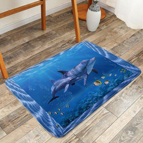 Store Skidproof Ocean Dolphin Area Rug - W16 INCH * L24 INCH BLUE Mobile