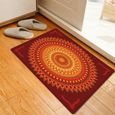 Online Boho Mandala Pattern Anti-skid Water Absorption Area Rug - W16 INCH * L24 INCH DEEP RED Mobile