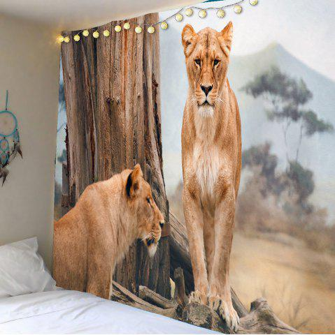 Buy Lions Forest Waterproof Wall Hanging Tapestry - W59 INCH * L51 INCH BROWN Mobile