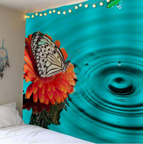 Trendy Butterfly Water Print Waterproof Wall Hanging Tapestry - W59 INCH * L51 INCH LAKE BLUE Mobile