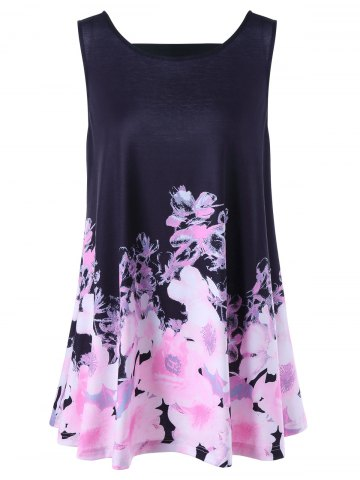 Chic Floral Open Back Plus Size Tank Top