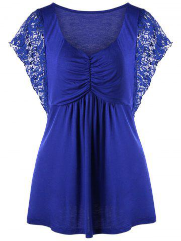 Cheap Plus Size Lace Trim Butterfly Sleeve Tee BLUE XL