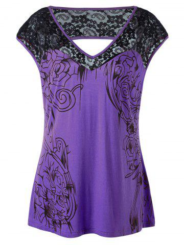 Unique Plus Size Lace Insert Open Back Top PURPLE 5XL