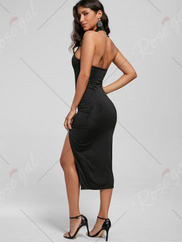 Outfit Halter Ruched Slit Bodycon Dress - M BLACK Mobile