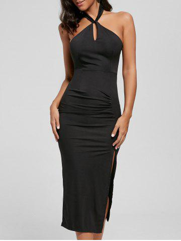 Best Halter Ruched Slit Bodycon Dress - M BLACK Mobile