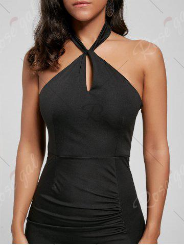 New Halter Ruched Slit Bodycon Dress - M BLACK Mobile