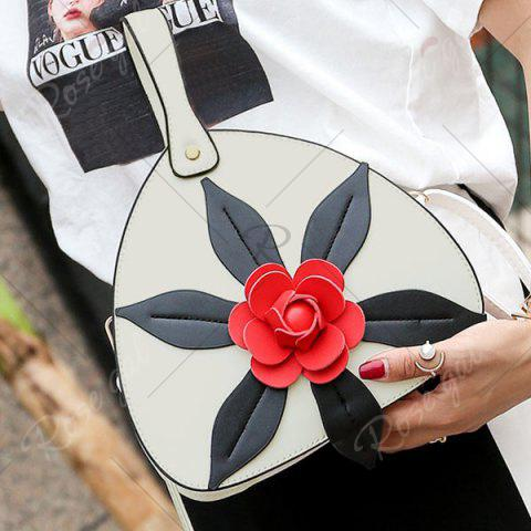 Online PU Leather Flower Handbag - WHITE  Mobile