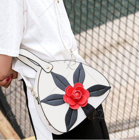 Discount PU Leather Flower Handbag - WHITE  Mobile