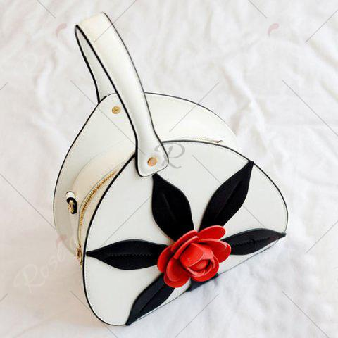 Fancy PU Leather Flower Handbag - WHITE  Mobile