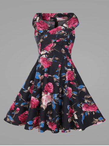 Flower Print Plus Size Vintage Swing Dress - Black - 5xl