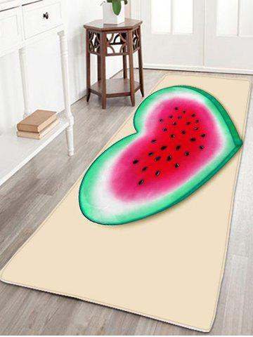 Trendy Heart Watermelon Pattern Flannel Skidproof Rug - W16 INCH * L47 INCH YELLOW Mobile