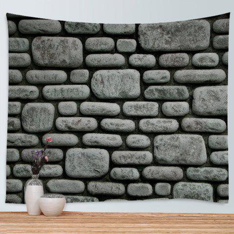 Cheap Stone Brick Wall Print Tapestry Wall Hanging Art Decoration - W59 INCH * L51 INCH DEEP GRAY Mobile