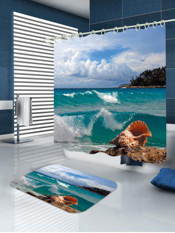 Unique Conch Beach Print Waterproof Extra Long Shower Curtain - W71 INCH * L79 INCH LAKE BLUE Mobile