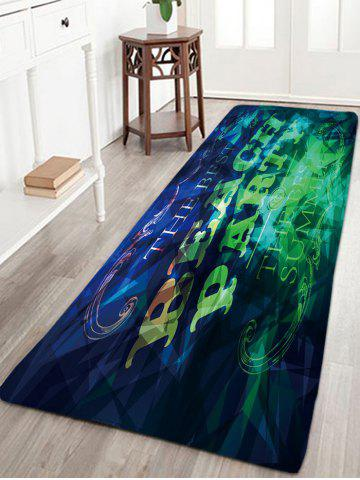 Buy BEACH PARTY Printed Skidproof Flannel Rug - W16 INCH * L47 INCH BLUE GREEN Mobile