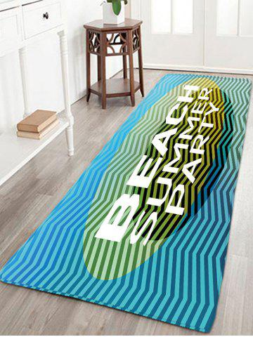 Hot BEACH SUMMER PARTY Print Striped Flannel Rug - W16 INCH * L47 INCH BLUE Mobile