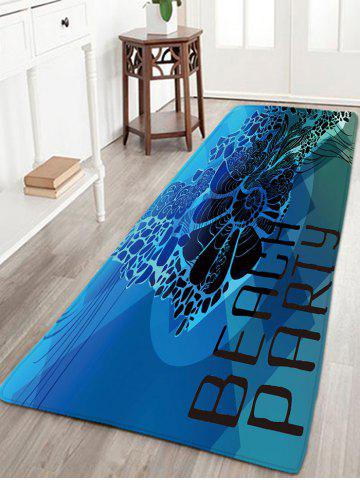 Shops BEACH PARTY Letter Print Antiskid Flannel Rug - W16 INCH * L47 INCH BLUE Mobile