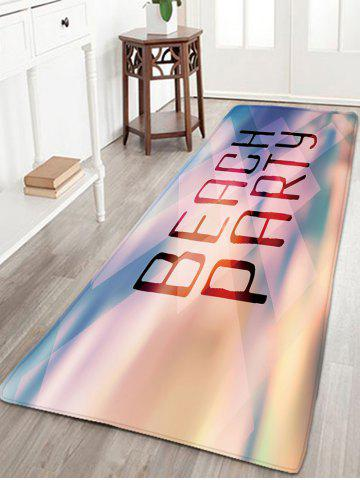 Sale BEACH PARTY Letter Print Antislip Flannel Rug - W16 INCH * L47 INCH PINK Mobile