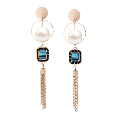 Faux Pearl Fringed Chain Circle Earrings - Blue
