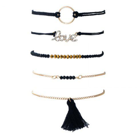 Shops Love Circle Beaded Tassel Bracelet Set - BLACK  Mobile
