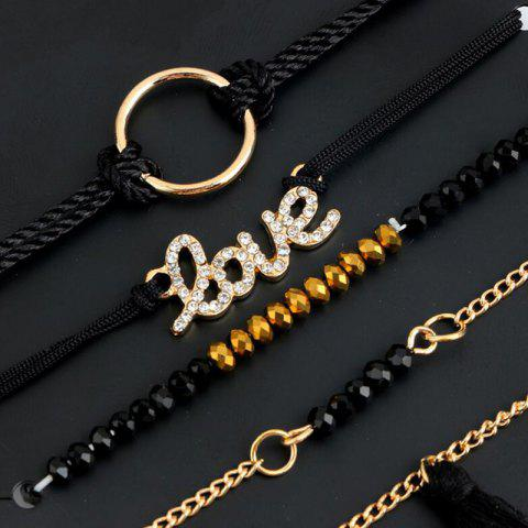 Discount Love Circle Beaded Tassel Bracelet Set - BLACK  Mobile