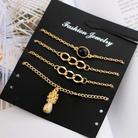 Outfit Pineapple Chain Charm Bracelet Set - GOLDEN  Mobile