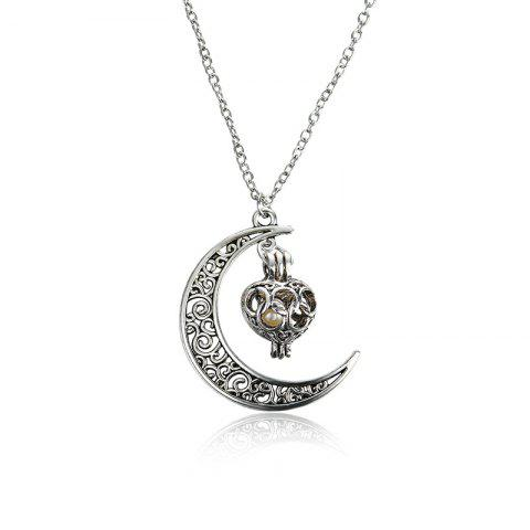 Engraved Faux Pearl Cage Moon Necklace - Silver
