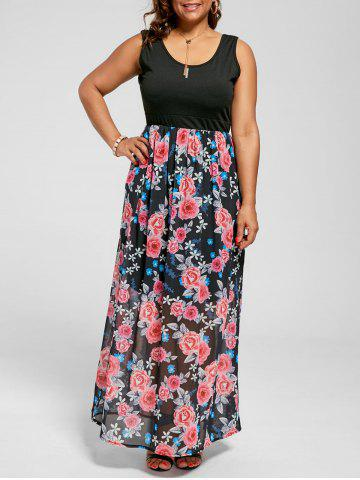 Sleeveless Floral A Line Plus Size Maxi Dress - Black - 8xl