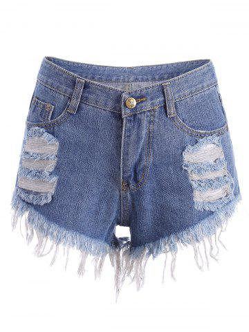 Buy Distressed Cutoffs Denim Shorts - L BLUE Mobile